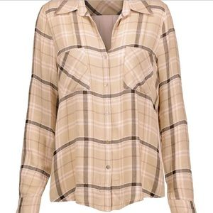 L'Agence Denise Plaid Tan Silk Crepe Blouse Top